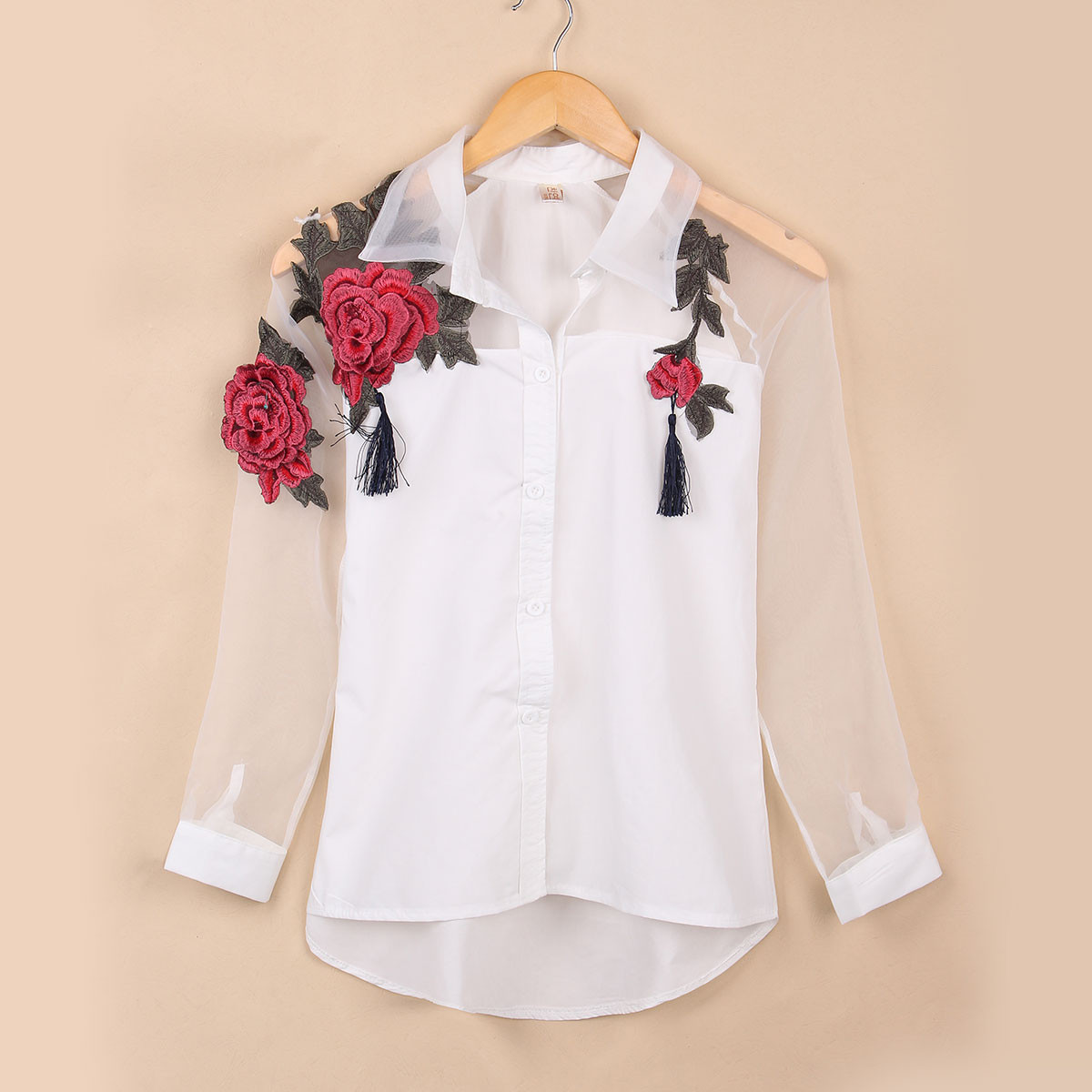 7d3dfbe62ce Tops Women Elegant Blusas Sexy 2018 Spring Summer Long Sleeve Embroidery  Floral Print Blouses Ladies Lapel Organza Shirt-in Blouses & Shirts from  Women's ...