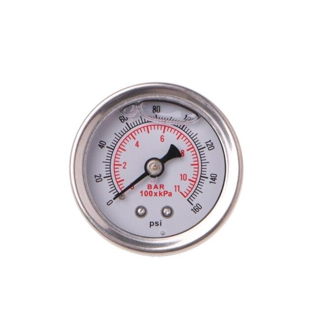 有用な燃料圧力レギュレータゲージ 0 160 Psi/バー液体充填クローム燃料油ゲージ