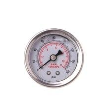 Kullanışlı yakıt basınç regülatörü göstergesi 0 160 Psi/Bar sıvı dolum krom yakıt yağ göstergesi