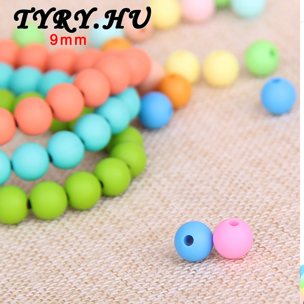 Round Silicone Teething Beads DIY Baby Nursing Chew Teethers Necklace Jewelry