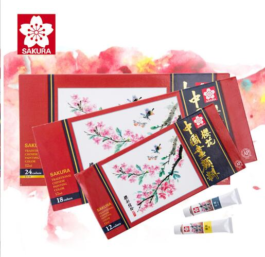 Japan japon Sakura Chinese painting pigment 24 colors stroke painting landscape watercolor aquarela Gouache Paint stationery japon