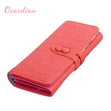 OCARDIAN New Fashion Women Sweet Solid PU Leather Long Wallet Purse Gift 11S60914 Mar 21