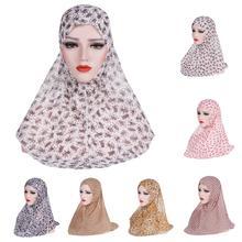 One Piece Amira Women Muslim Hijab Niquabs Scarf Islamic Headwear Shawls Headwraps Hat Full Cover Headscarf Prinrt Middle East
