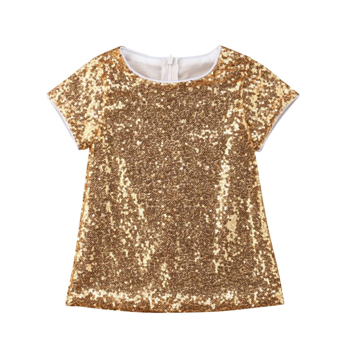 Pudcoco Toddler Kids Baby Girl Princess Sequins Short Sleeve O-Neck Formal Dresss 6M-5Y