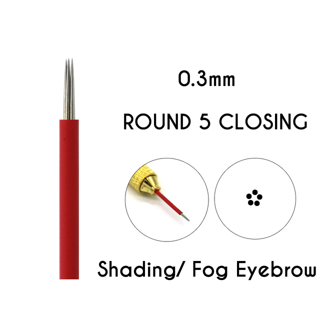 Microblading Shading Round  Needles 3/5/7/9/17/19/21 Needles Permanent Makeup Eyebrow Tattoo Needles Brows Embroidery Pins 4