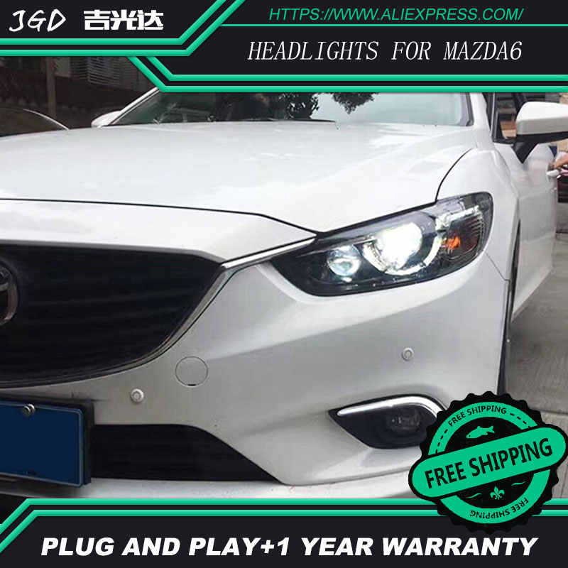 Free shipping ! Car styling LED HID Rio LED 2013-2016 headlights Head Lamp case for Mazda6 ATENZA Mazda 6 Bi-Xenon Lens low beam