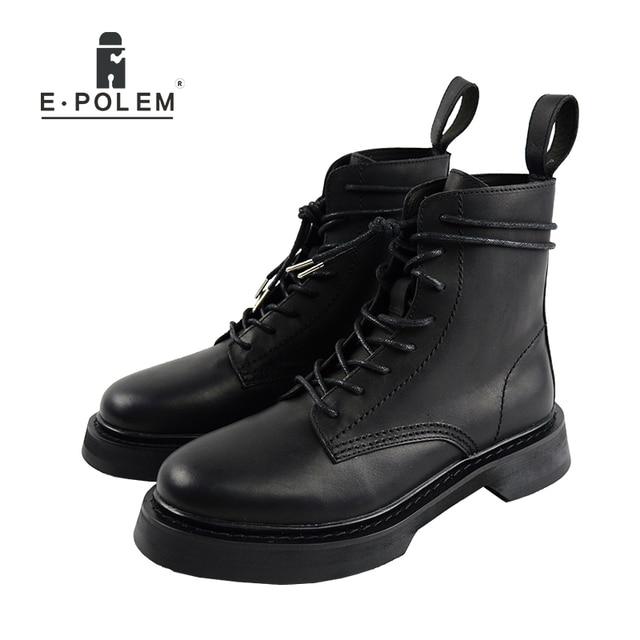 e1d8f036433284 W stylu New England buty buty do kostki płaskie buty motocyklowe sznurowane  buty zimowe wysokiej jakości