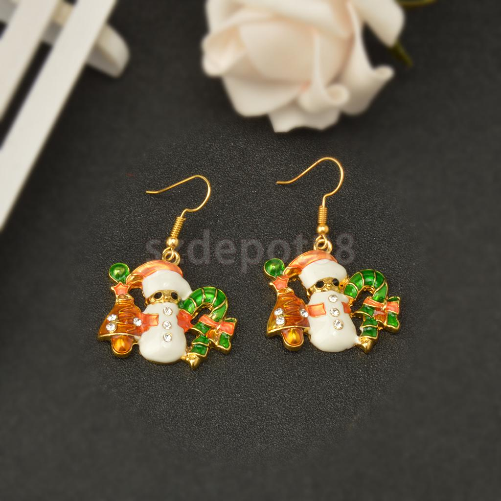 Novelty Handmade Christmas Lovely Drop Hook Crystal Earrings Xmas Snowman Holiday Gift for Women Lady