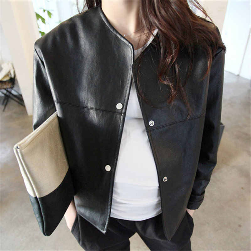 of women's wear thin, short female leather jacket, Pu long sleeved college wind small coat, loose PU leather jacket