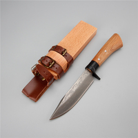 Japanese retro damascus steel hunting camping outdoor knife fixed 58 hrc blade survival wood handle knifes with sheath tools