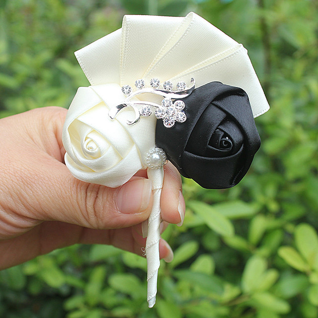 Handmade  Colorful Ivory Black Wedding Corsages Boutonniere Groom Boutonniere wedding Flowers Boutonniere Brooch Flower