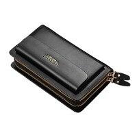 Luxury Brand Business Long Men Wallets PU Leather Clutch Purse Men Handy Bag Double Zipper Wallet
