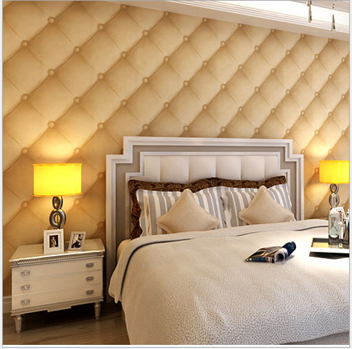 New Modern 3D Wallpaper Bedroom Wall Imitation Leather Sofa shape ...