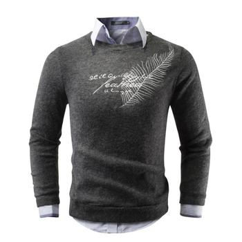 Men Sweater 2018 Brand Round Neck Sweaters Fashion Pullovers Winter Warm Jumpers Feather Embroidery Knitwear Plus Size S-XXL 1