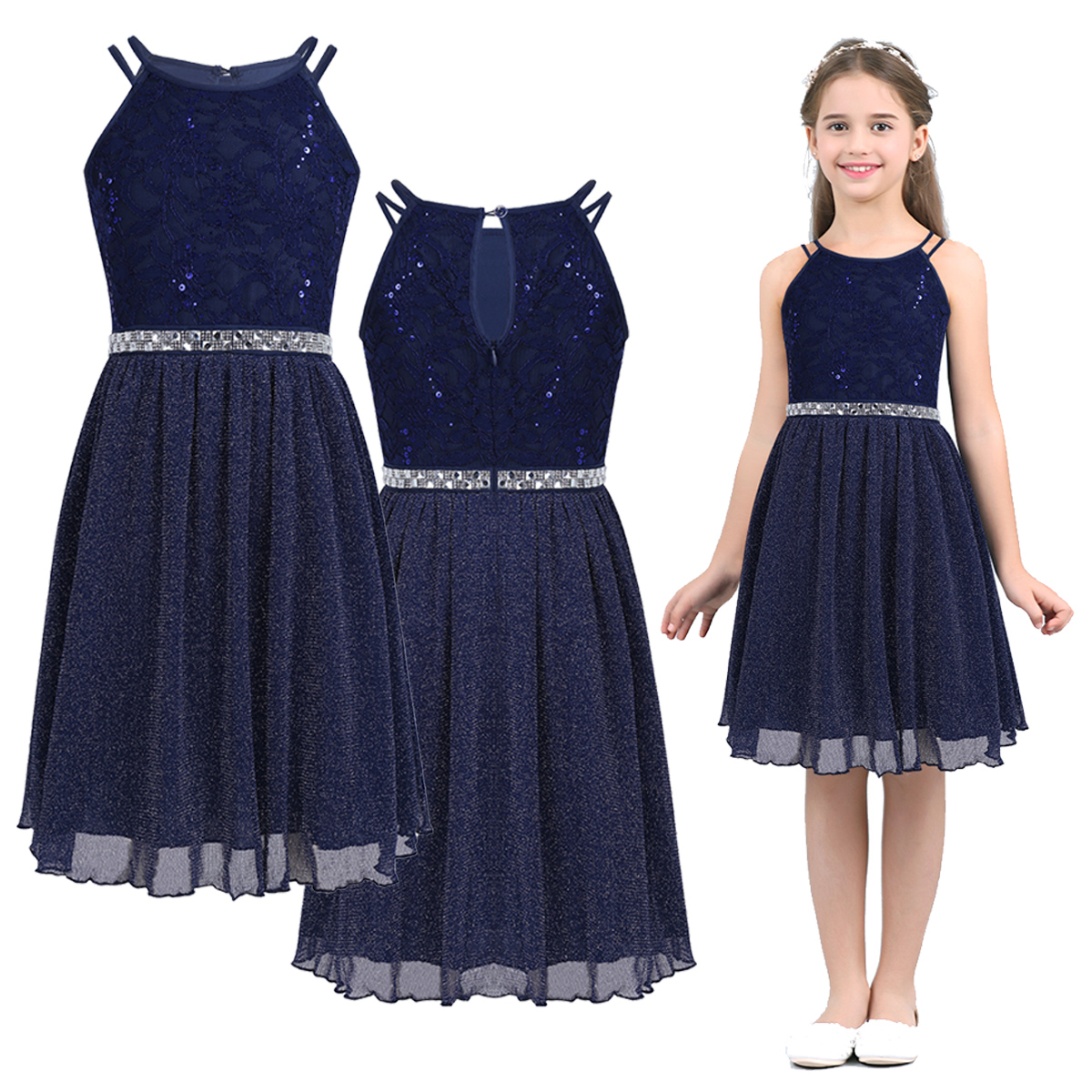 Summer Girls Lace Dress Children's Clothing Party Princess Baby Kids Girls Clothes Wedding Shiny Dresses Teen Costume 6 14 Years