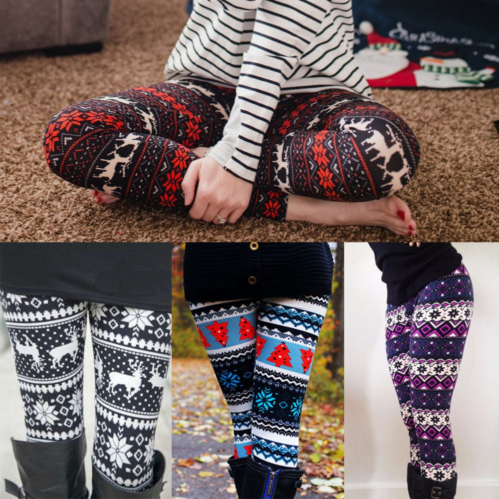 Winter Women Christmas Snowflake Deer Printed Warm Fleece Stretchy   Leggings   Thick Pencil Slim Nine Pants Wholesale