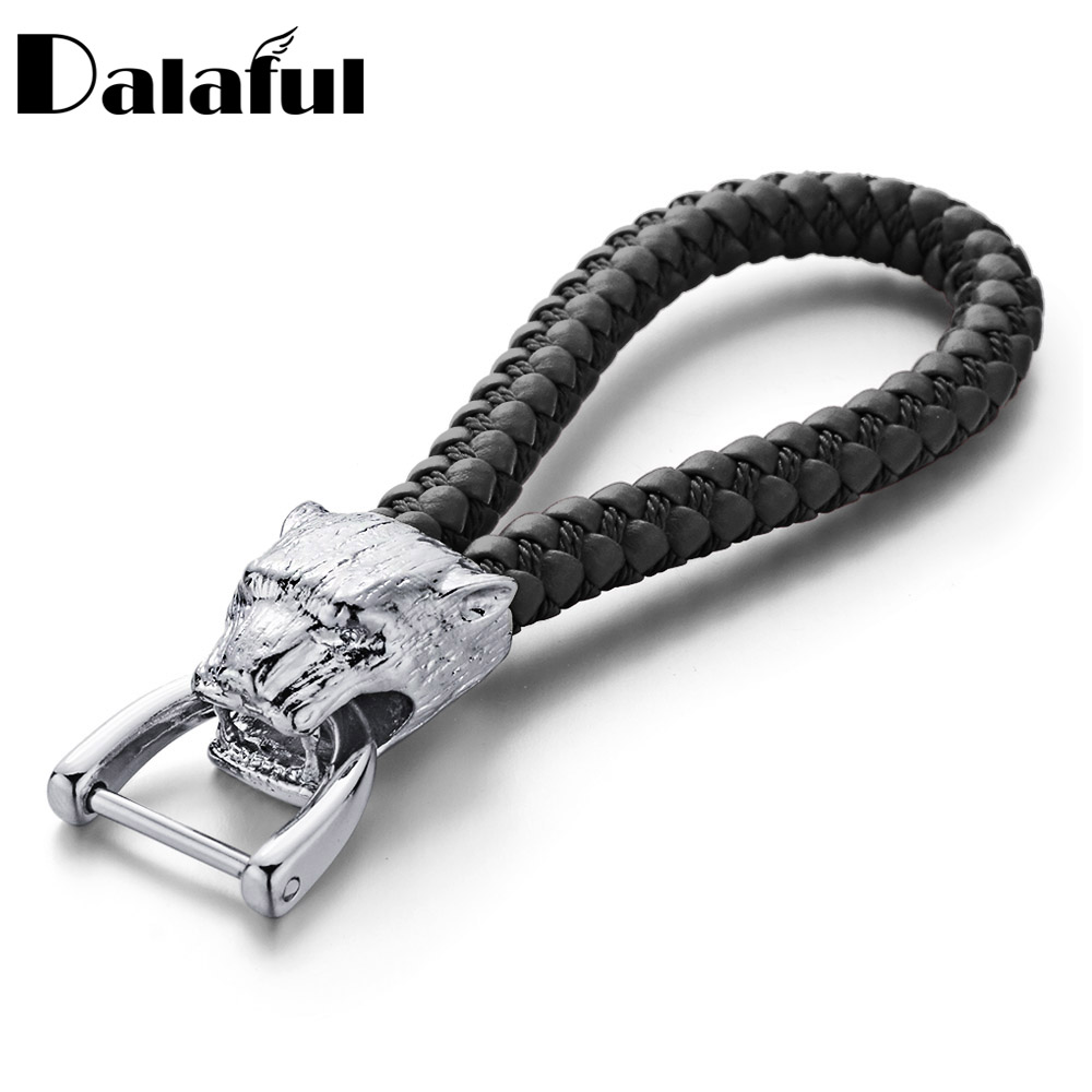 Dalaful New High Grade Men Key Chain Leopard Woven Leather Rope Keychains Gift For Car Women Detachable Key Rings Holder K357