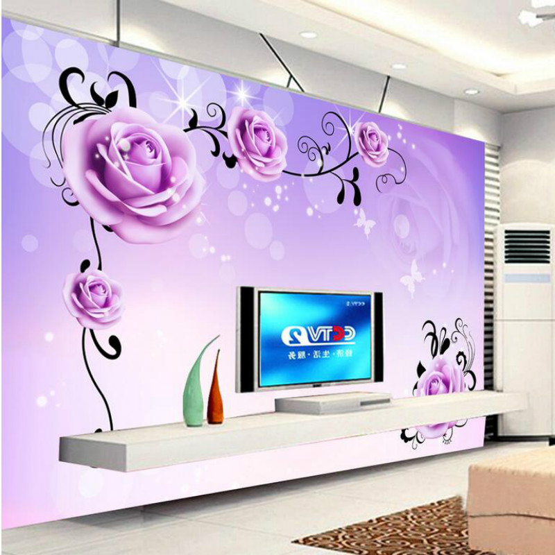 Custom 3D Wallpaper for Walls Purple Roses 3d Wall Paper TV Background Painting Mural Wallpapers Home Improvement Decorate custom wallpaper for walls 3 d photo wall mural pastoral country road tv walls 3d nature wallpapers for living room