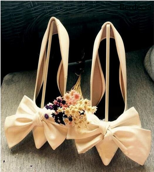 Sweet Bowtie Slip On Women Pumps Thin High Heels Prom Wedding Dress Shoes Woman Summer Soft Beauty Ladies Shoe Zapatos Mujer sweet women high quality bowtie pointed toe flock flat shoes women casual summer ladies slip on casual zapatos mujer bt123