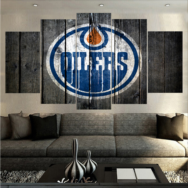 Sport Ball Team Edmonton Oilers Logo Painting Pictures On The Wall HD Print  Paintings Home Decor