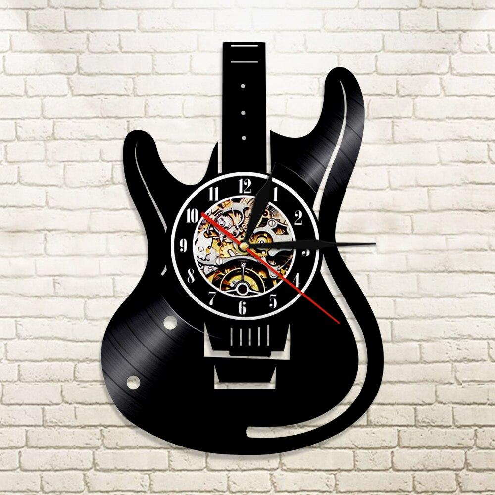 1 pièce Guitare Disque Vinyle Horloge Murale Musique Vintage LP Horloge Murale Home Decor Musicale Instruments Cadeau Pour Mélomane guitariste