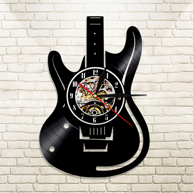 1piece Guitar Vinyl Record Wall Clock Music Vintage Lp Wall Clock Home Decor Musical Instruments