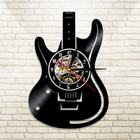 1Piece Guitar Vinyl Record Wall   Clock   Music Vintage LP Wall   Clock   Home Decor Musical Instruments Gift For Music Lover Guitarist