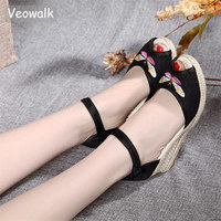 Veowalk Dragonfly Embroidered Women Peep Toe Linen Wedge Sandals Handmade Ladies Casual Ankle Strap Knited Heel Summer   Shoes
