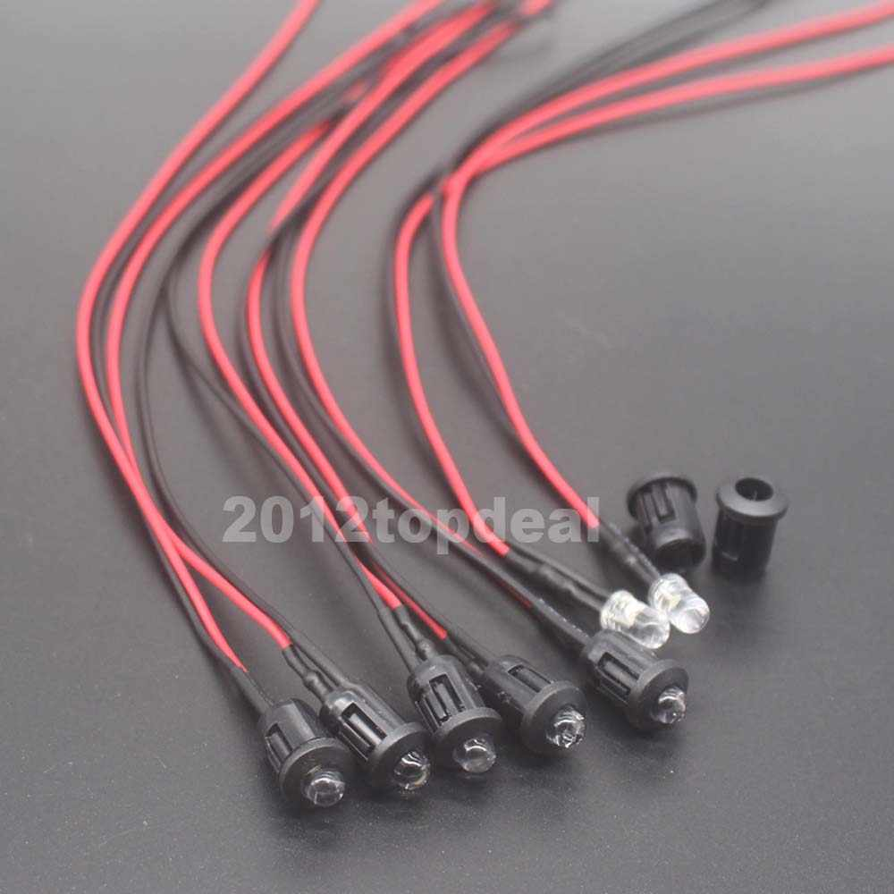 10-100 peças de 3mm/5mm vermelho/verde/azul/rgb 12v dc redondo água pré-fio clara led com suporte de plástico