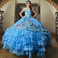 Bordados Doce 16 Vestidos de Baile Turquesa Inchado Vestidos Quinceanera 2017 Vestidos de Debutante Vestidos de 15 Anos Vestido de Princesa 15
