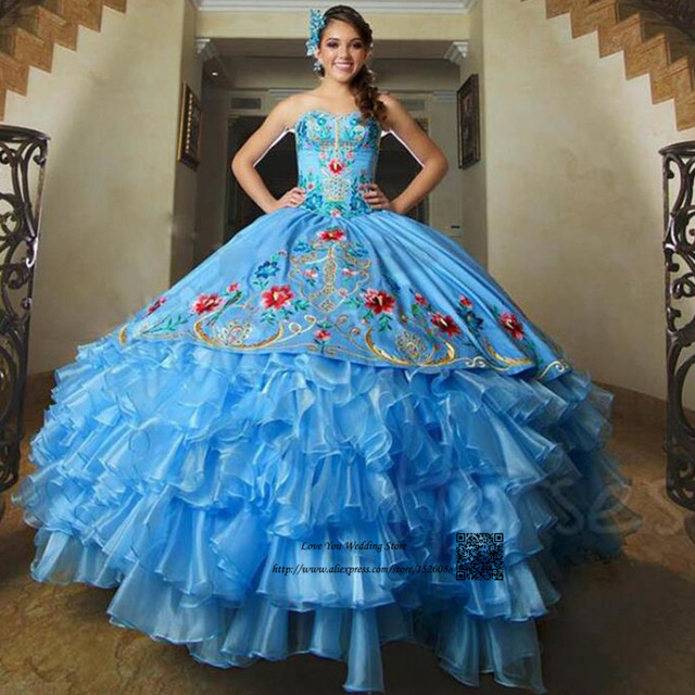 428f6a8a1 Embroidery Sweet 16 Ball Gowns Puffy Turquoise Quinceanera Dresses 2017  Debutante Gowns Vestidos de 15 Anos Princesa Dress 15