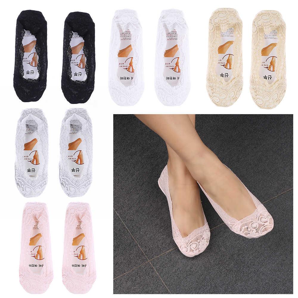 2018 mode Frauen Sommer Spring Ankle Boot Low Cut Kurze Socken Baumwolle Spitze Antiskid Invisible Liner Socken Elastische Für Frau