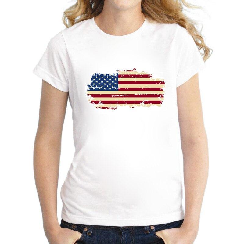 BLWHSA Nové tričko pro ženy USA Flag Cotton Short Nostalgia Style United States Flag Dámská trička