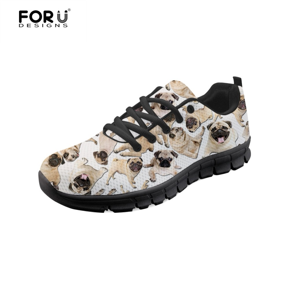 FORUDESIGNS Sneakers Cute Animal Pug Dog Pattern Flats Shoes Woman Breathable Lace up Casual Shoes for Ladies Sapatos Feminino
