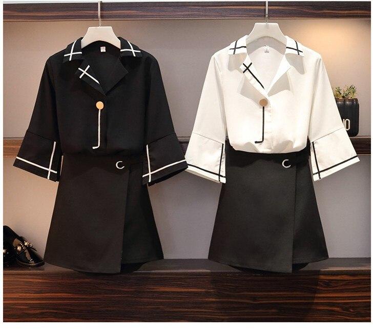 2019 新デザイン女性のファッション衣類セット 2 個トップとスカート黒、白セットオフィス女性ワーキングセットビッグサイズ 4XL L # A280  グループ上の レディース衣服 からの レディースセット の中 1