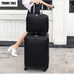 Conto de viagem 20 polegadas feminino spinner couro retro trole saco 24 mala viagem bagagem mão conjunto
