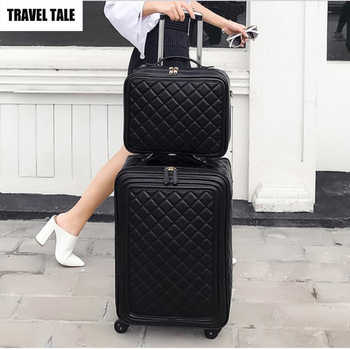 """TRAVEL TALE 20\""""inch women spinner leather retro trolley bag 24 travel suitcase hand luggage set - DISCOUNT ITEM  19 OFF Luggage & Bags"""