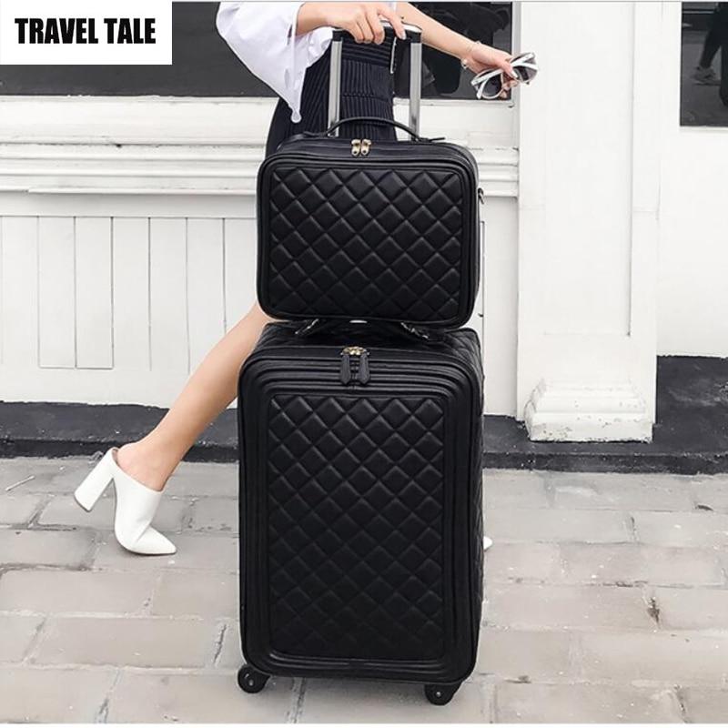 """Torba podróżna 20 """"cal kobiety spinner skóra retro wózek torba 24 walizka podróżna bagaż podręczny zestaw w Walizka na kółkach od Bagaże i torby na  Grupa 1"""