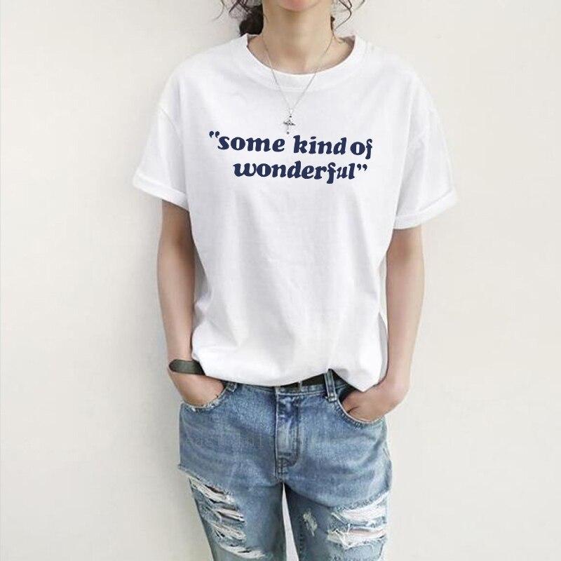 H716 Fashion Style Women some kind of wonderful Print T shirt Summer Girls Round Neck Tees