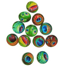 50Pcs Wholesale Mixed Peacock Feather Patterns Glass Round Click Snap Press Buttons DIY Crafts Making 18mm