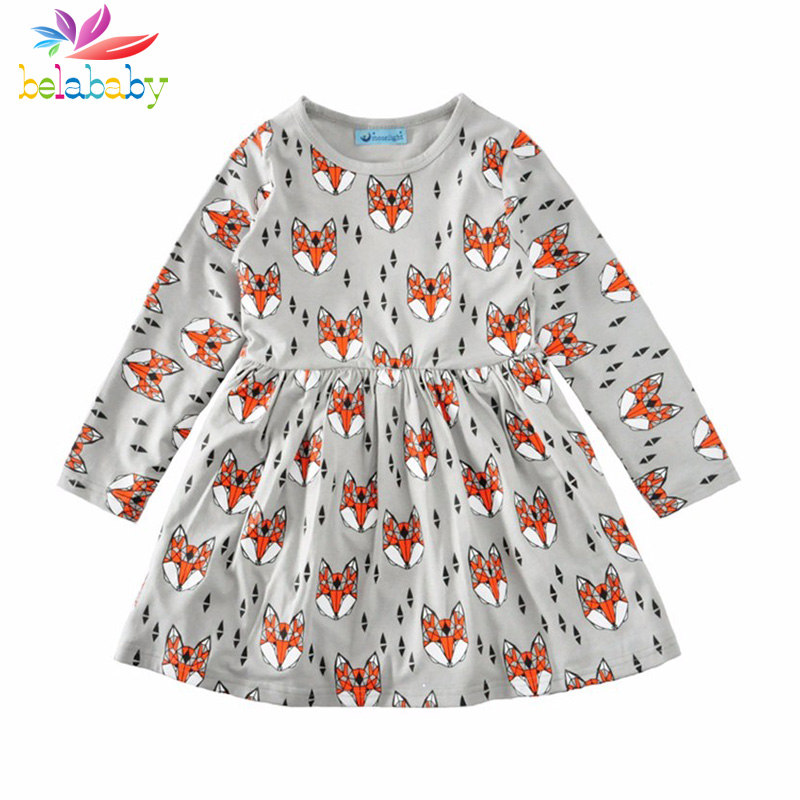 Belababy Cartoon Girls Dress Spring Autumn Cute Fox Diamond Graphic Pleated Kids Dresses Long Sleeve Casual Evening