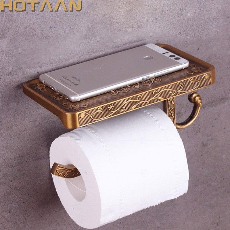 Latón antiguo de papel higiénico titular baño soporte móvil baño Tssue sostenedor  de rollo de papel de baño estante de almacenamiento de YT-1492B 4c61dbfc73c4