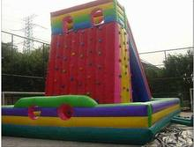 Popular Design rainbow inflatable climbing wall  for kids недорого
