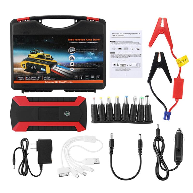 89800 mAh 12V 4 USB Multifunction Car Emergency Jump Starter Waterproof Portable LED Car Battery Booster Charger Auto Power Bank multifunction abs 4 usb ports car charger