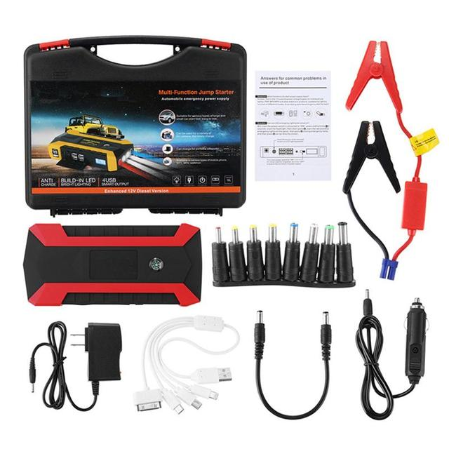 89800 mAh 12V 4 USB Multifunction Car Emergency Jump Starter Waterproof Portable LED Car Battery Booster Charger Auto Power Bank