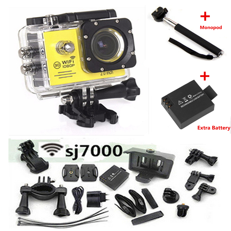 ФОТО Action Camera SJ7000 Wifi 2.0 LTPS LED mini camcorder sport camera waterproof diving 1080P HD gopro style two batteries  monopod