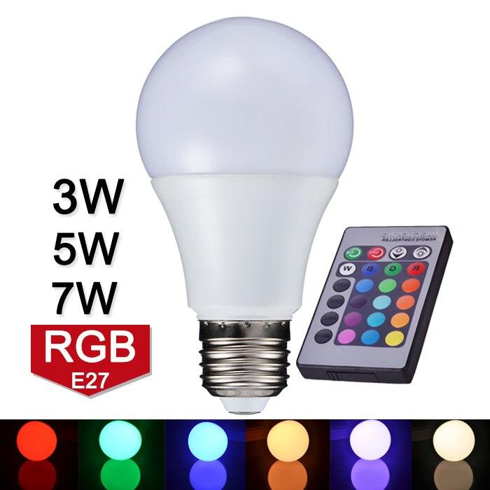 New Arrival Led Rgb Bulb Light E27 110v 220v Rgb Led Lamp 3w 5w 7w With Ir Remote Controller Lampara Led Light A65 A70 A80 kopen