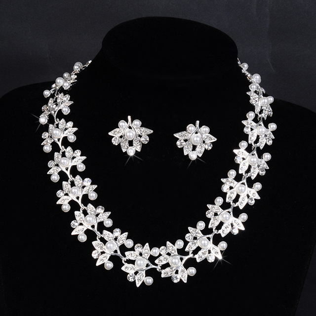 2016 leaf chain imitated pearl women necklace/earring bridal jewelry set  silver plated wedding accessories marriage bijou D032