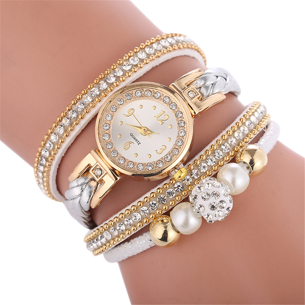 Watches For Fashion Women Leather Decorative Circle Quartz Watch Winding Bracelet Ladies Dress Wrist Female Watch Gift