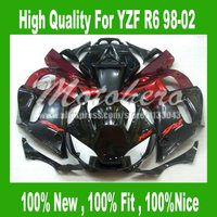Pre_drilledFairing kits for Yamaha YZF R6 1998-2002 YZFR6 98-02 YZF R6 98 1999 2000 2001 02 red black motorcycle fairings kit #3